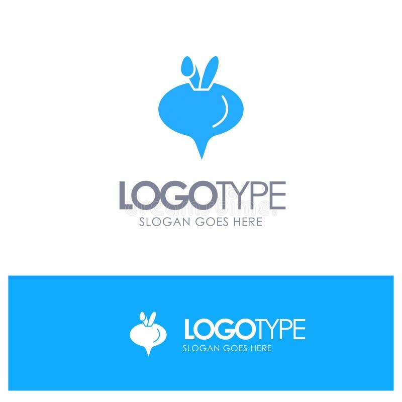 Еда, турнепс, логотип овоща голубой твердый с местом для слогана иллюстрация вектора