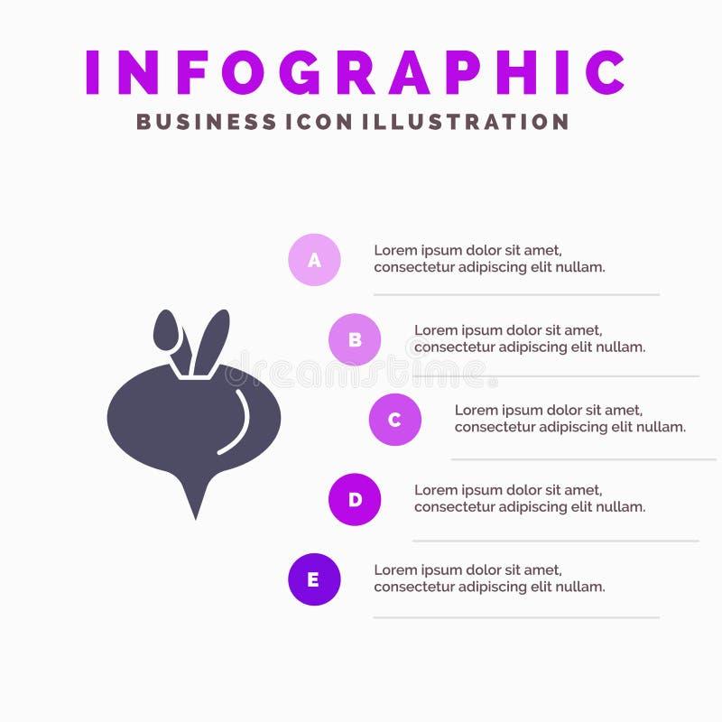 Еда, турнепс, предпосылка представления шагов Infographics 5 значка овоща твердая иллюстрация штока