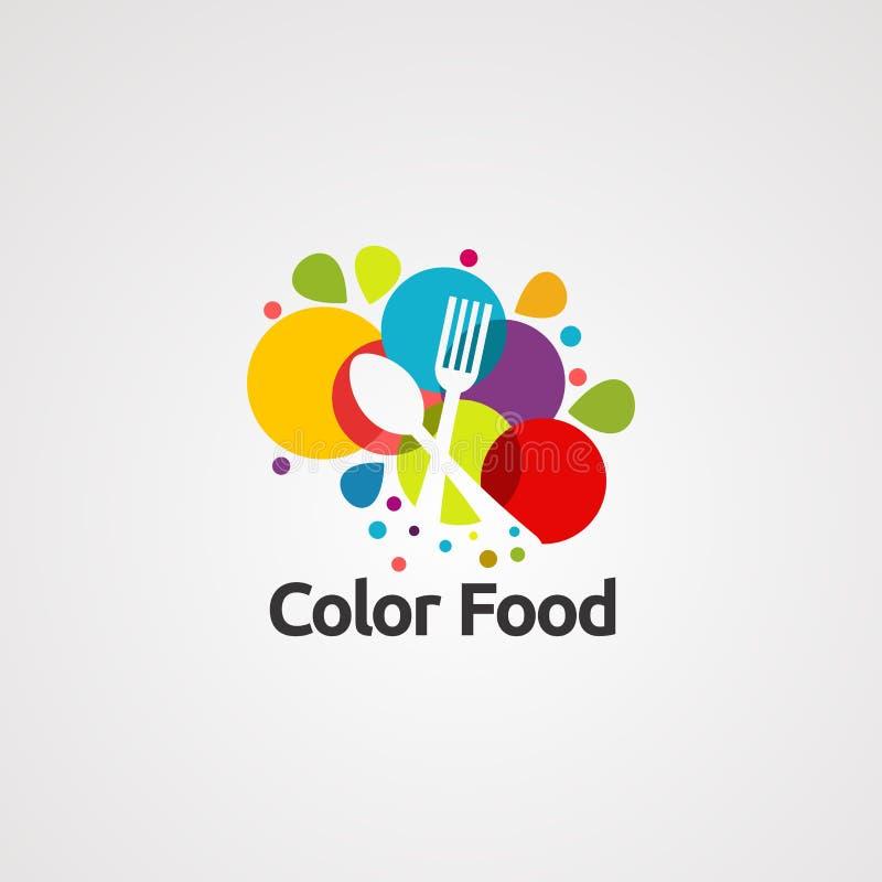 еда цвета с вектором, значком, элементом, и шаблоном логотипа вилки ложки для компании иллюстрация штока