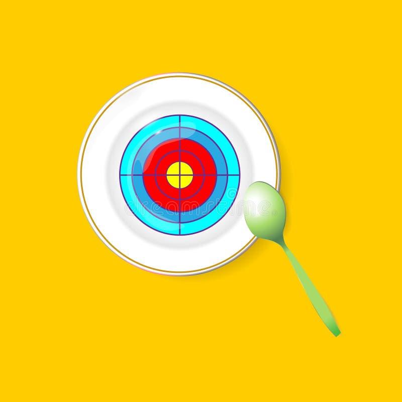 Еда цели дружественная к эко Плита с зеленой ложкой Стратегия цели и вектора, диетическое питание символа сырцовые и иллюстрация  иллюстрация вектора