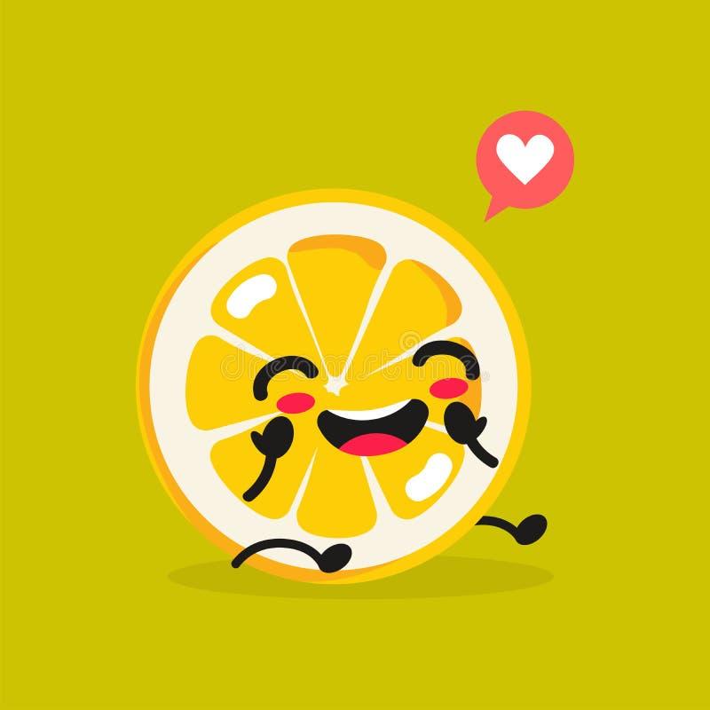 Еда Kawaii Лимон мультфильма вектора Счастливый смешной азиатский характер для меню ресторана Children's, знамени продажи фаст- иллюстрация штока