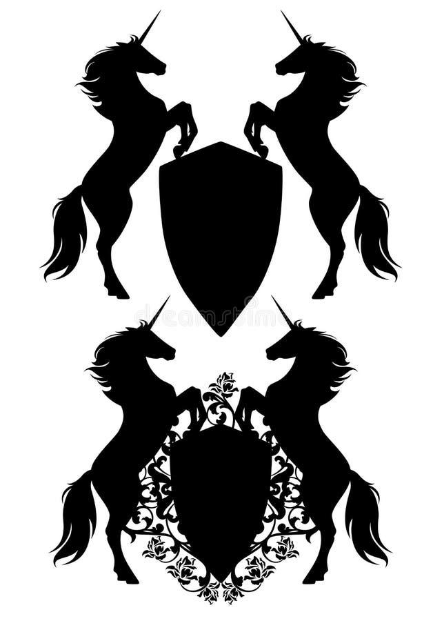 2 единорога держа экран черного вектора heraldic иллюстрация вектора