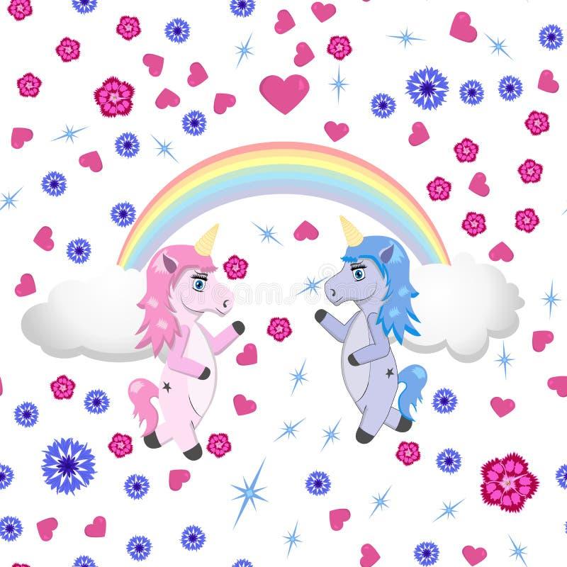 2 единорога под радугой на белой предпосылке с цветками и сердцами иллюстрация штока
