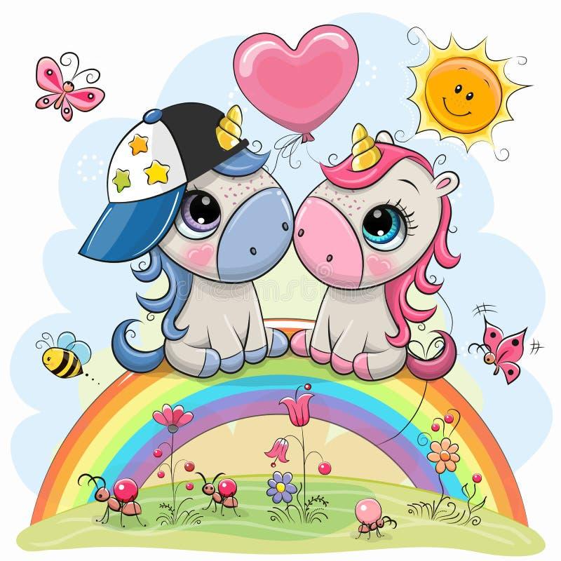 Единороги мультфильма сидят на радуге иллюстрация штока