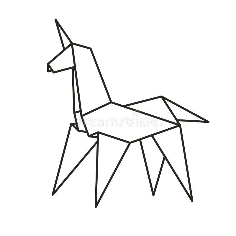 Единорог бумаги Origami иллюстрация вектора