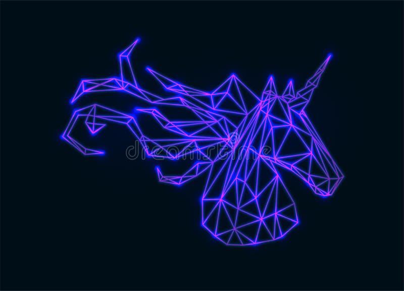 Единорог вектора полигональный неоновый иллюстрация штока