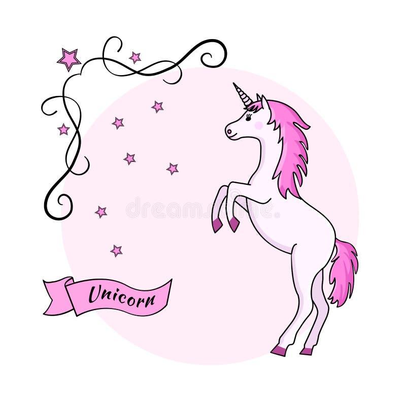 Единорог на розовой предпосылке, векторе иллюстрация штока