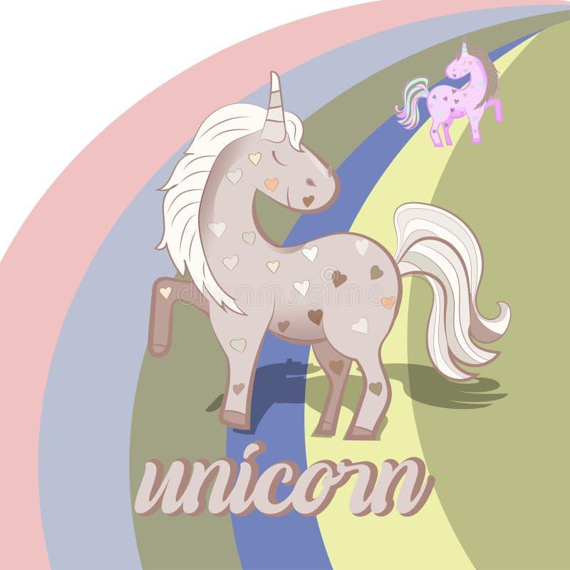 Единорог пинка мультфильма на предпосылке радуги изолированной на белой предпосылке r иллюстрация штока