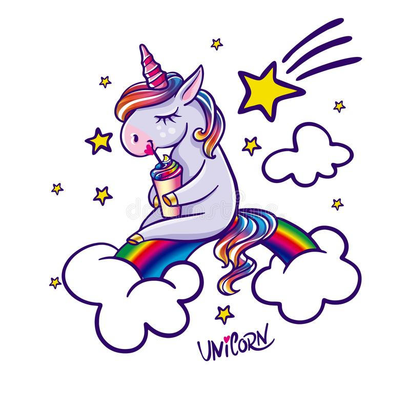 Единорог сидя на радуге бесплатная иллюстрация