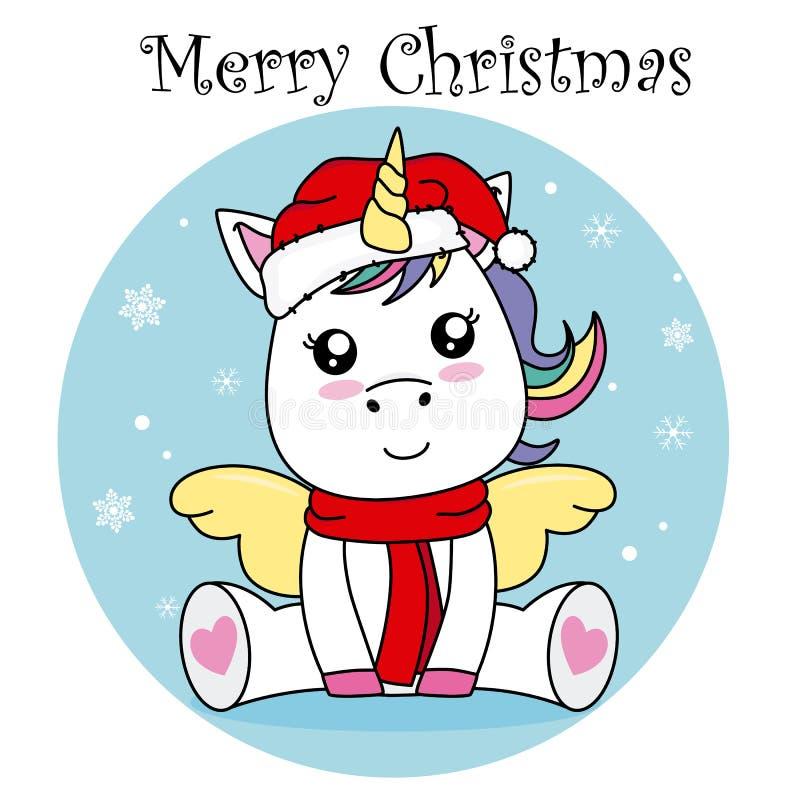 Единорог со шляпой Санта Клауса бесплатная иллюстрация