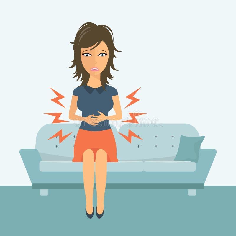 ее женщина живота удерживания женщина боли ощупывание предпосылки изолированное над больной белой женщиной плоско иллюстрация штока