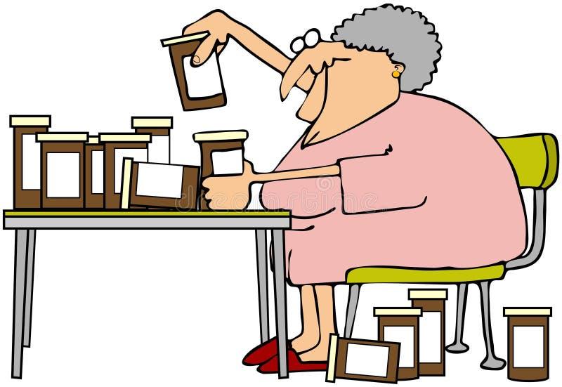ее женщина meds иллюстрация вектора