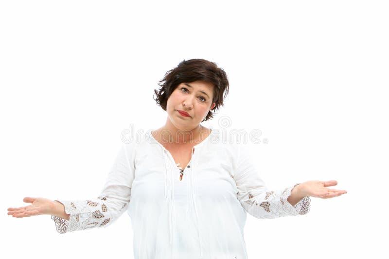 ее невежественные плечи shrugging женщина стоковое изображение rf
