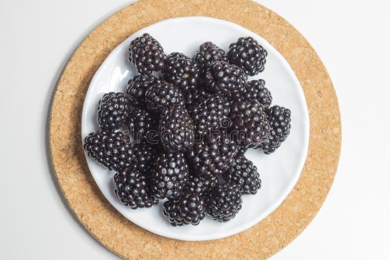 Ежевики изолированные на белой предпосылке свежие ягоды стоковые изображения rf