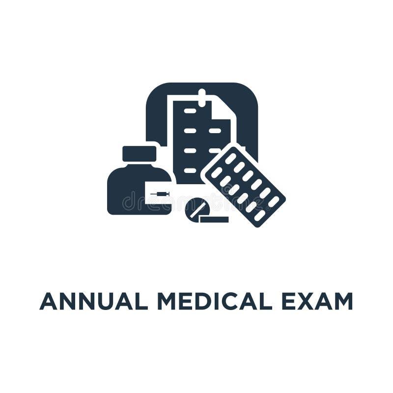 ежегодный значок медицинского обследования регулярный медицинский осмотр вверх по дизайну символа концепции, курсу лекарства, пер иллюстрация вектора
