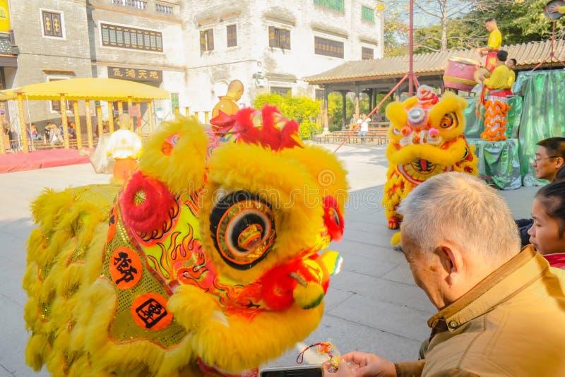 Ежедневное китайское шоу танца льва с туристом насладиться шоу в Wong Fei-повиснуло мемориальный Hall Фарфор города Foshan стоковые изображения