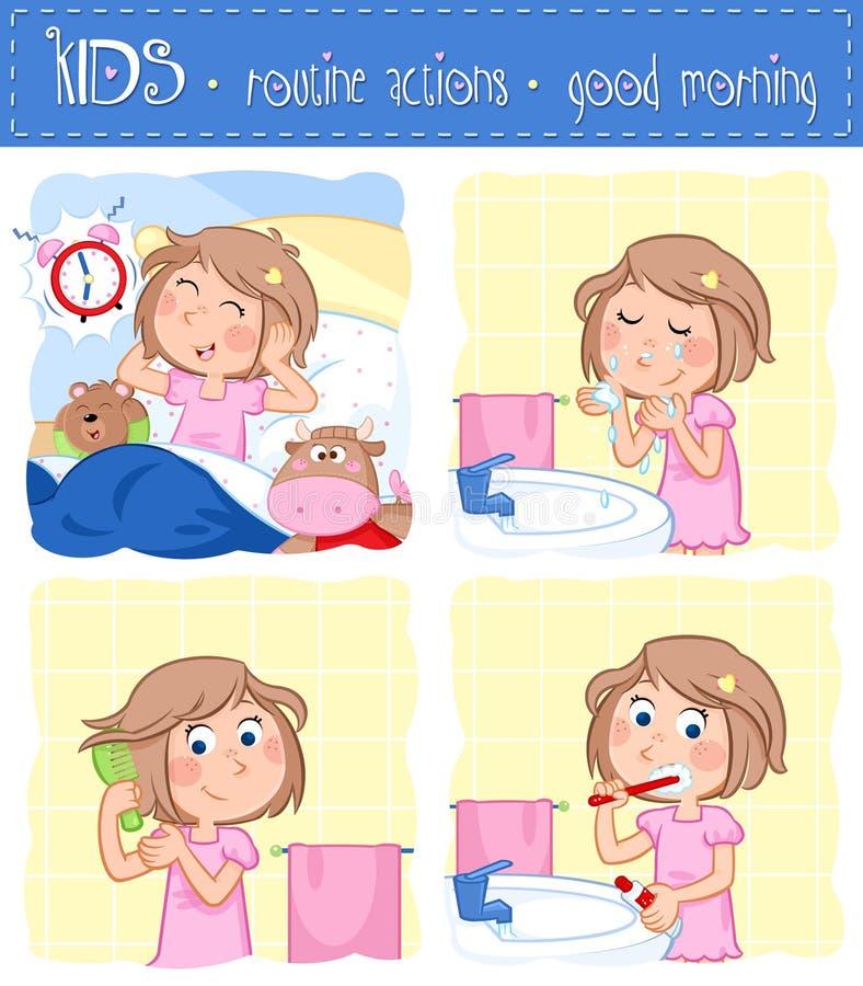 Ежедневный режим - комплект 4 действий доброго утра по заведенному порядку - время для школы иллюстрация штока