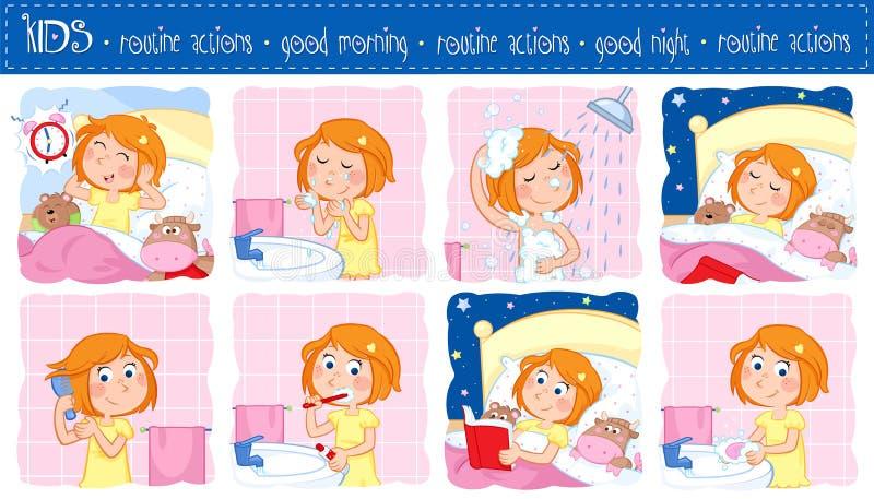 Ежедневный режим маленькой девочки с волосами имбиря - комплектом 8 доброе утро и действий режима спокойной ночи иллюстрация штока