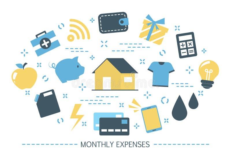 Ежемесячная концепция расходов Оплата для еды и воды бесплатная иллюстрация