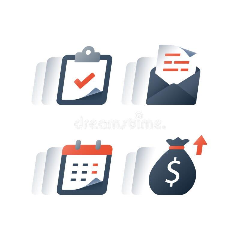 Ежемесячная рассрочка платежа по кредиту, финансовый календарь, годовой доход, долгосрочный вклад значения и возвращение, период  иллюстрация вектора