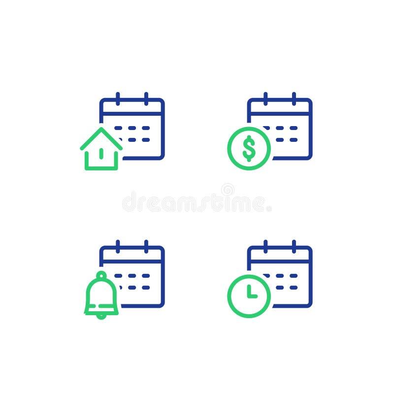 Ежемесячность и ежегодный платеж, календарь финансов, период времени, ссуда под недвижимость недвижимости, напоминание колокола,  иллюстрация штока