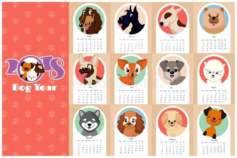 Ежемесячные дети calendar 2018 с смешными собаками, щенятами бесплатная иллюстрация