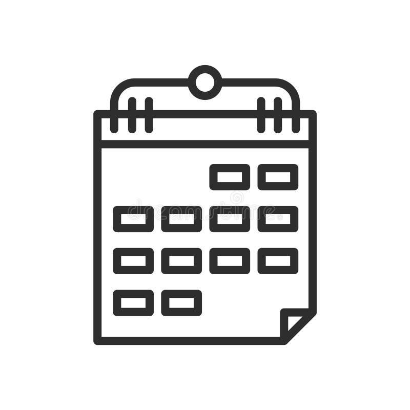 Ежемесячный знак и символ вектора значка календаря стены изолированные на wh иллюстрация вектора