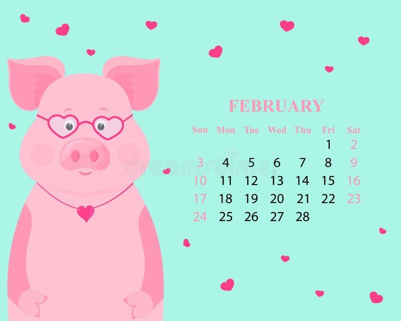 Ежемесячный календарь на февраль 2019 Милая свинья со стеклами и в форме сердц шкентелем Символ китайского Нового Года иллюстрация штока