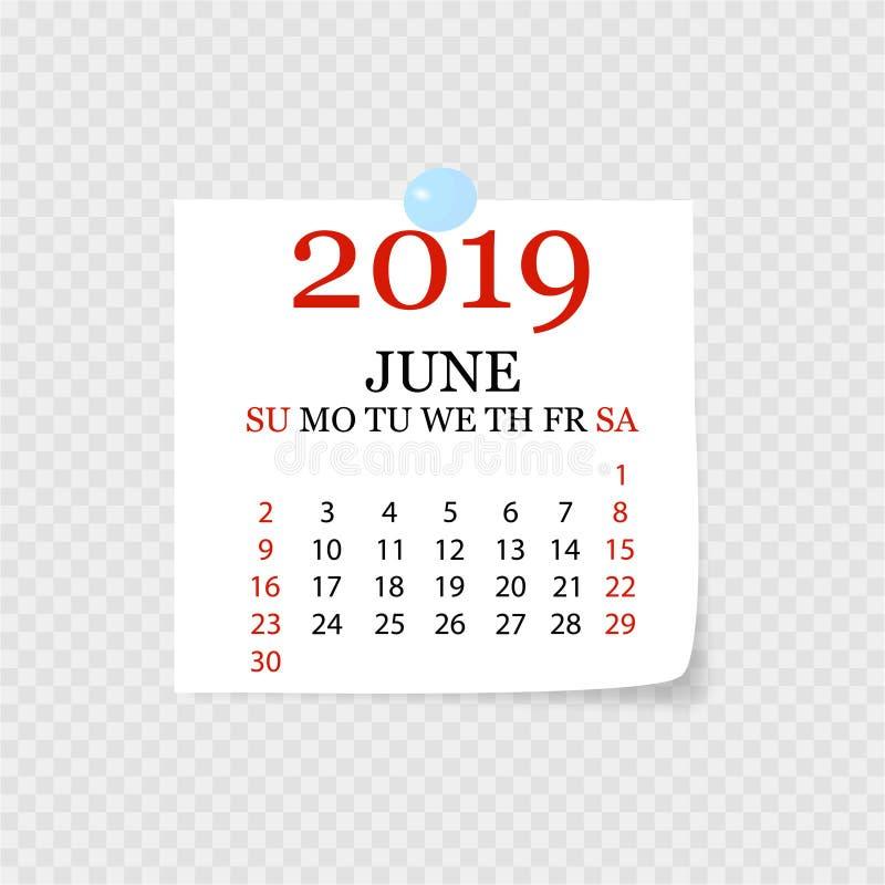 Ежемесячный календарь 2019 со скручиваемостью страницы Календарь разрыва- на июнь Белая предпосылка также вектор иллюстрации прит бесплатная иллюстрация