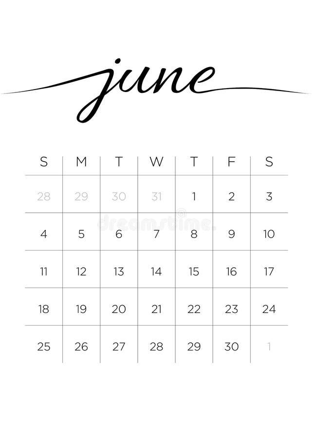 Ежемесячный календарь июнь 2017 бесплатная иллюстрация