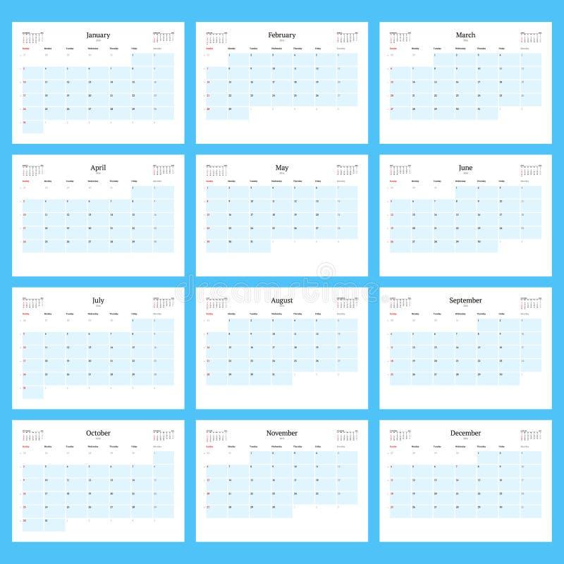 Ежемесячный плановик календаря на 2016 Комплект шаблона печати 12 месяцев Неделя начинает воскресенье также вектор иллюстрации пр иллюстрация вектора