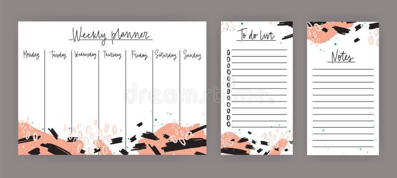 Еженедельный плановик с днями недели, лист для примечаний и сделать шаблоны списка украшенные с абстрактной красочной краской пят бесплатная иллюстрация