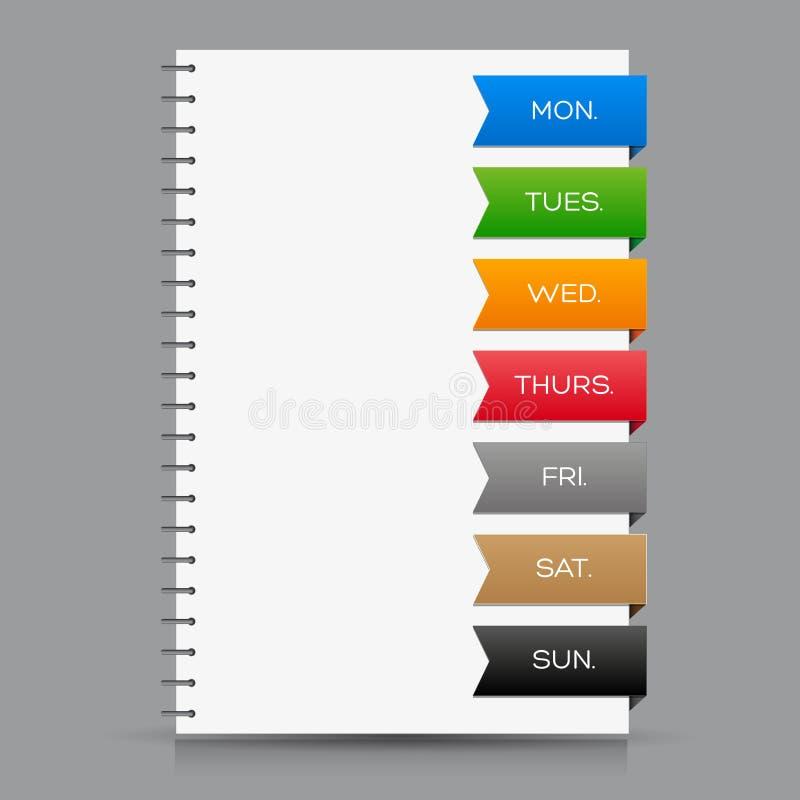 Еженедельный календарь с красочными лентами иллюстрация штока