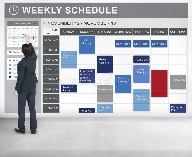 Еженедельный план-график для того чтобы сделать концепцию назначения списка стоковое изображение