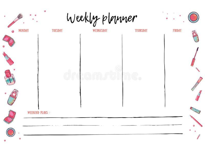Еженедельный шаблон плановика для ежедневной деятельности Организатор с для того чтобы сделать план-график вектора списка в ультр бесплатная иллюстрация