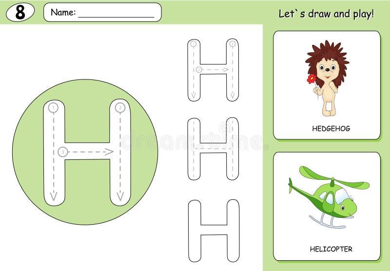 Еж и вертолет шаржа Рабочее лист алфавита следуя бесплатная иллюстрация