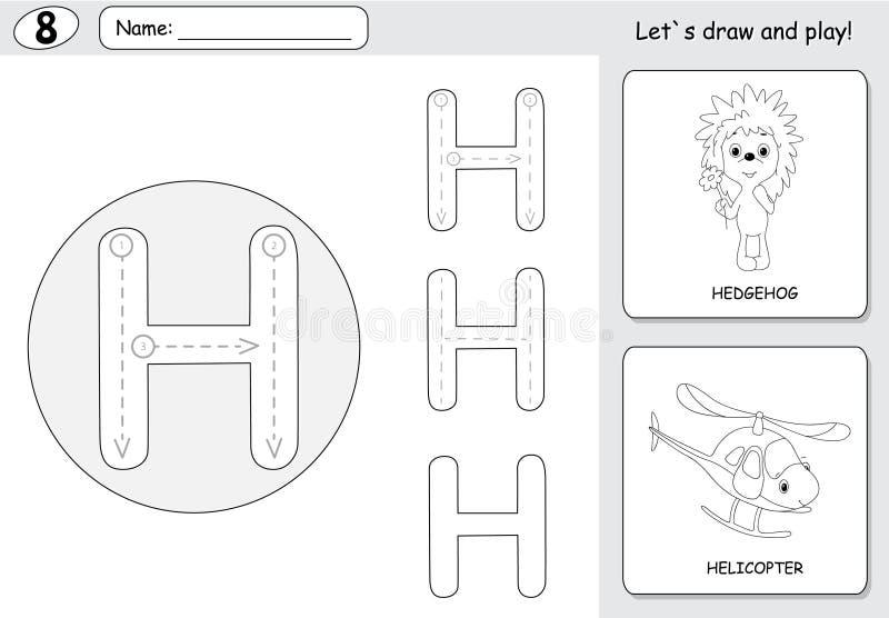 Еж и вертолет шаржа Рабочее лист алфавита следуя: wri иллюстрация вектора