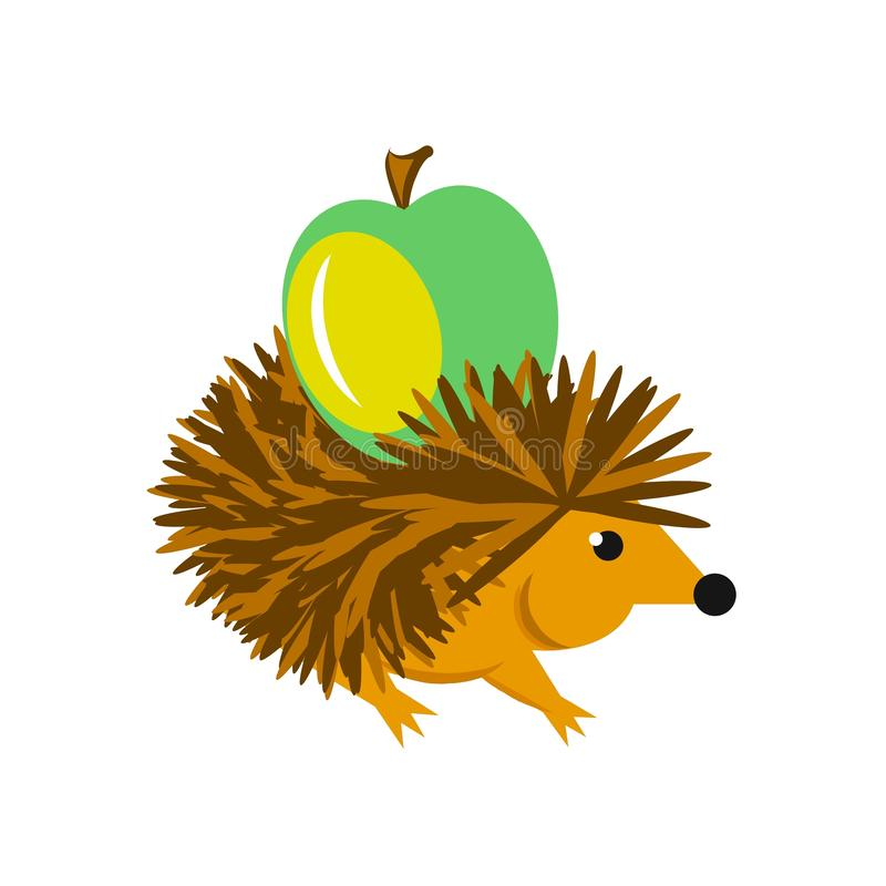 Еж носит иллюстрацию зеленого свежего яблока 2D изолированную на белизне иллюстрация вектора