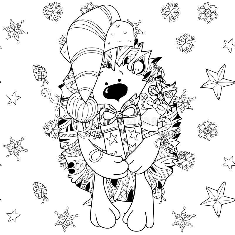 Еж xmas Doodle нарисованный рукой с подарочной коробкой иллюстрация вектора