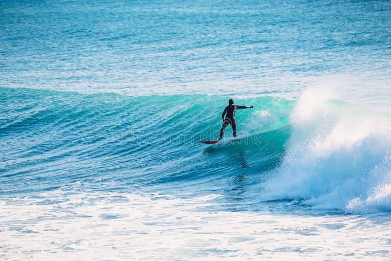 Езда серфера на голубой волне Зима занимаясь серфингом в океане стоковая фотография