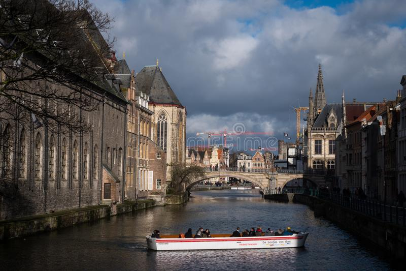 Езда шлюпки в Генте, Бельгии стоковые фотографии rf