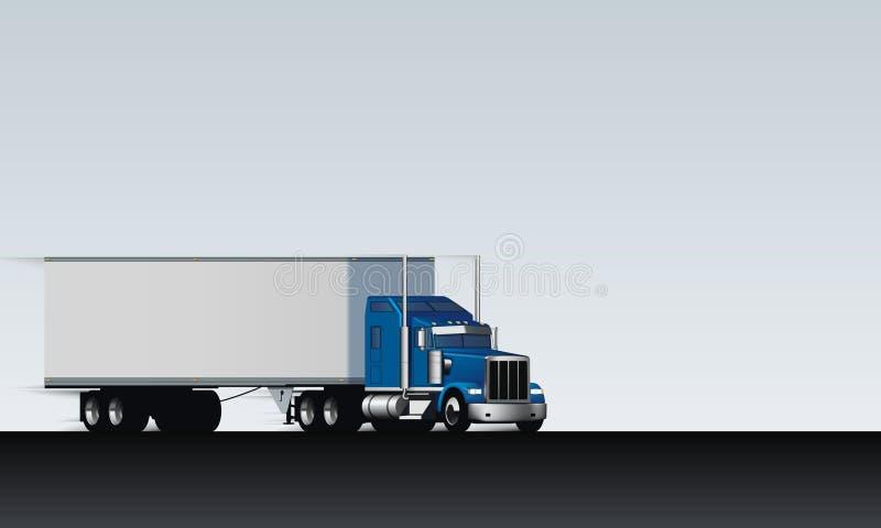 Езды тележки на абстрактном шоссе Классическая большая снаряжения тележка semi с сухим фургоном на белой ясной предпосылке, иллюс бесплатная иллюстрация