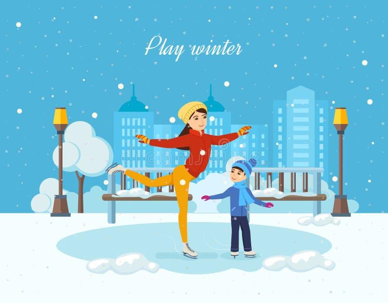 Езда на льде, мама мальчика показывает мастерский класс иллюстрация штока