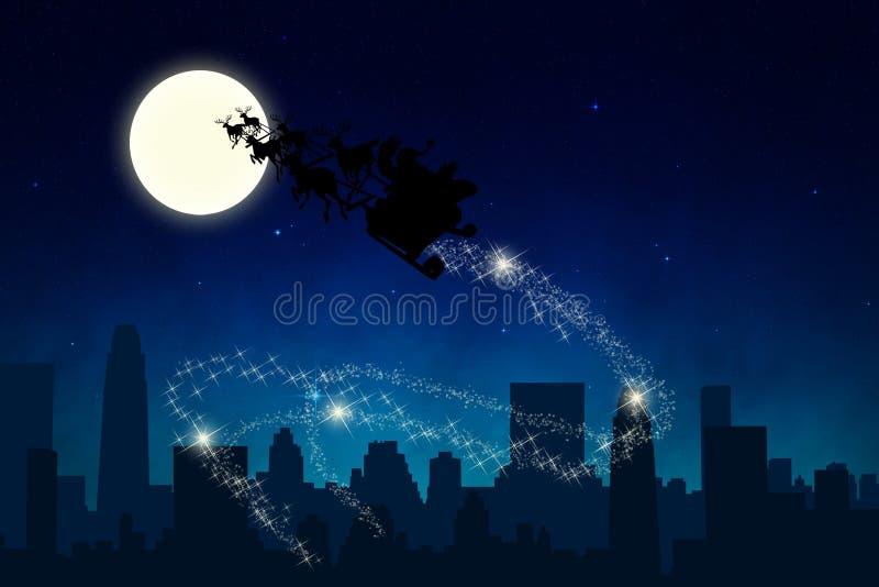 Езда саней Санты в ноче иллюстрация вектора