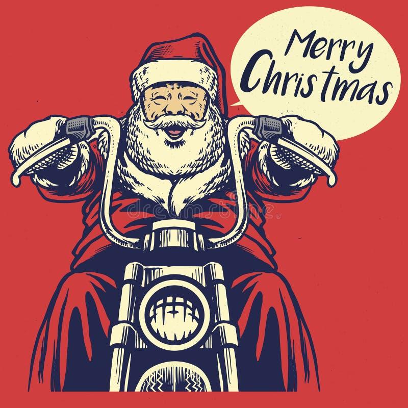 Езда Санта Клауса мотоцикл иллюстрация штока