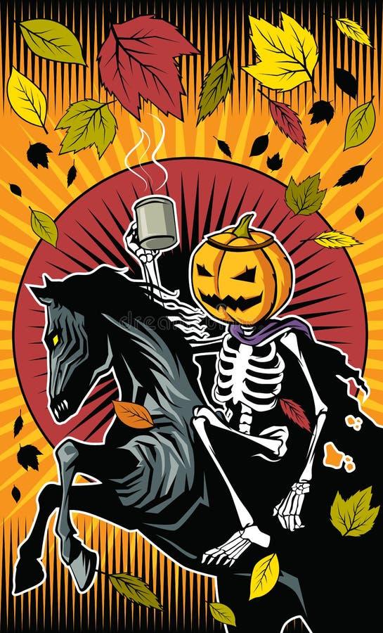 Езда тыквы хеллоуина каркасная на каркасной лошади бесплатная иллюстрация