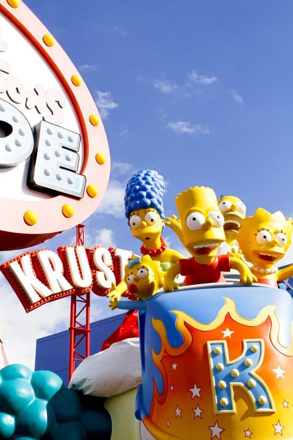 Езда Simpsons на студиях Universal Голливуде стоковые фотографии rf