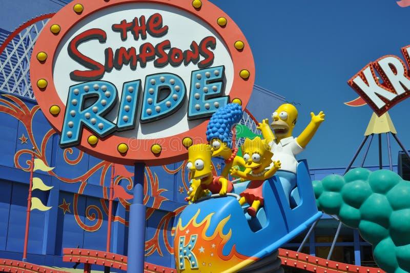 Езда Simpsons на студиях Universal Holliwood стоковое изображение