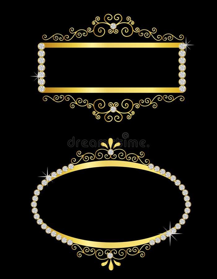 декоративное золото рамок иллюстрация вектора