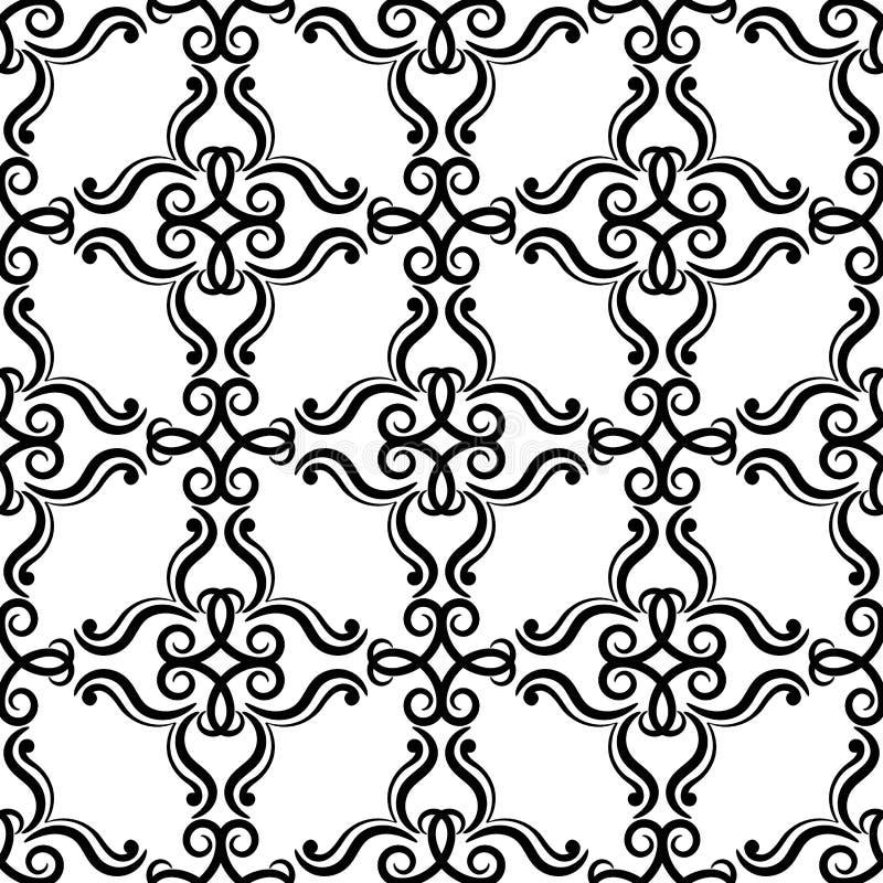 декоративный сбор винограда флористических орнаментов элементов Черно-белые безшовные картины для ткани и обоев иллюстрация вектора